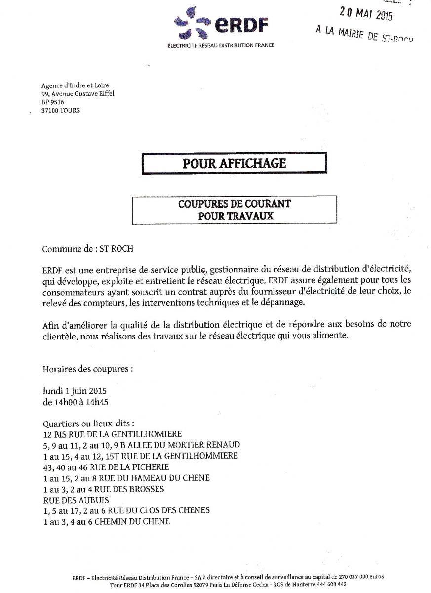 AVIS DE COUPURE D'ELECTRICITE