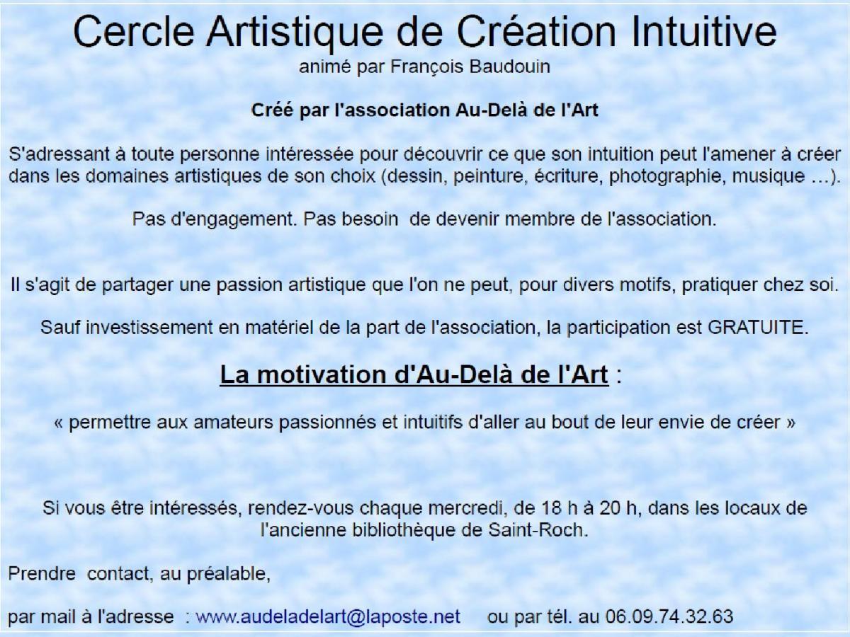 Création artistique : Au-Delà de l'Art s'adresse à tous