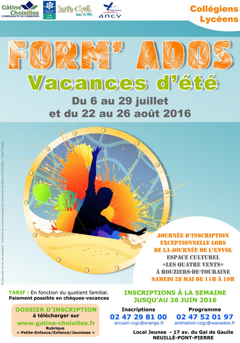 FORM'ADOS : programme de l'été 2016