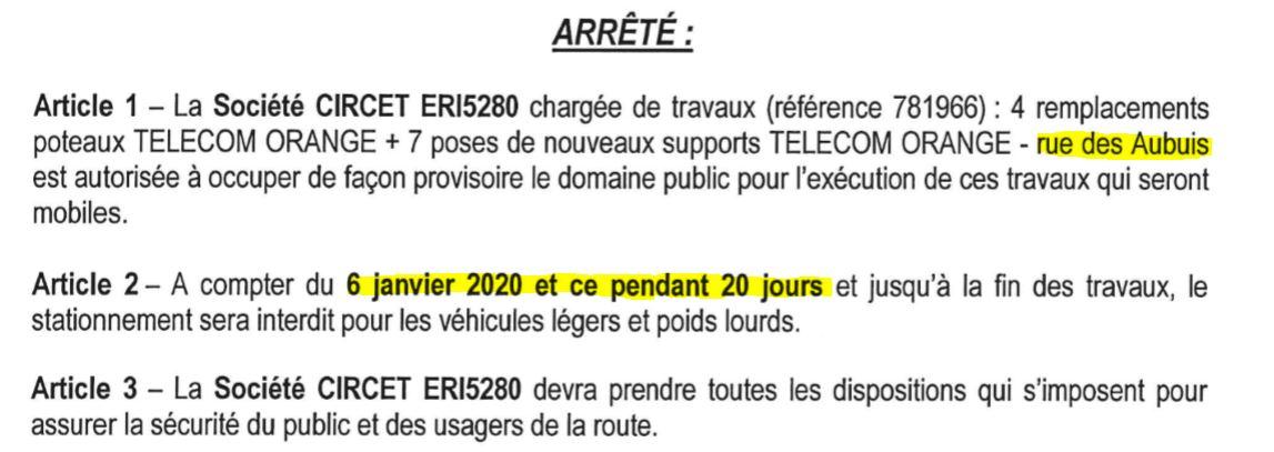 travaux rue des Aubuis : stationnement interdit du 6 au 25 janvier 2020